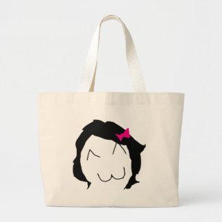 Derpina - black hair, pink ribbon - meme bag