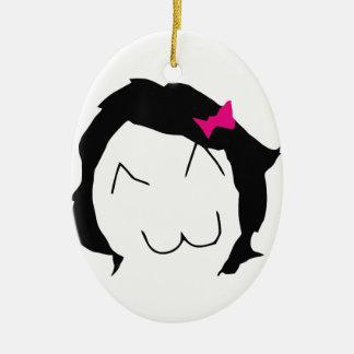 Derpina - black hair, pink ribbon - meme ceramic ornament