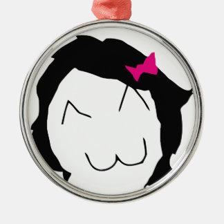 Derpina - black hair, pink ribbon - meme metal ornament