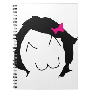 Derpina - black hair, pink ribbon - meme spiral notebook