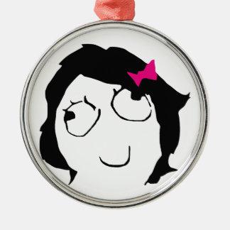 Derpina - black hair, pink ribbon metal ornament