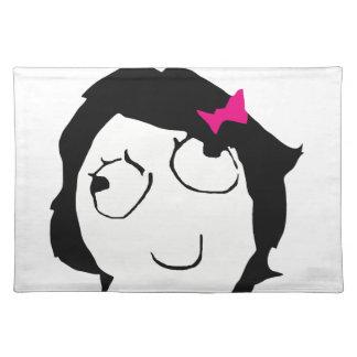 Derpina - black hair, pink ribbon placemat