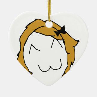 Derpina - blond hair, ribbon - meme ceramic ornament