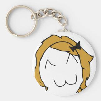 Derpina - blond hair ribbon - meme key chain