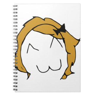 Derpina - blond hair, ribbon - meme spiral notebook