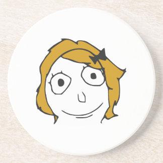 Derpina Blonde Yellow Hair Rage Face Meme Beverage Coaster