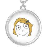 Derpina Blonde Yellow Hair Rage Face Meme Round Pendant Necklace
