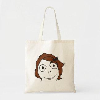 Derpina Brown Hair Rage Face Meme Bags