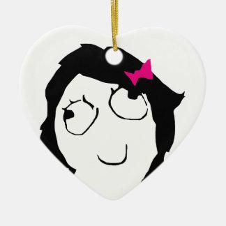Derpina - pelo negro, cinta rosada adorno de cerámica en forma de corazón
