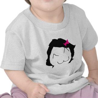 Derpina - pelo negro cinta rosada - meme camisetas