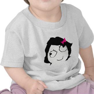 Derpina - pelo negro cinta rosada camisetas