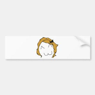 Derpina - pelo rubio, cinta - meme pegatina para auto
