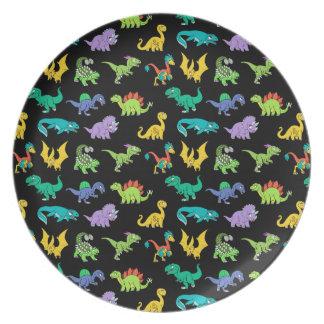 Derpy Dinosaurs pattern Melamine Plate