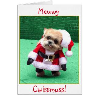 Derpy Dog Santa Christmas greeting card