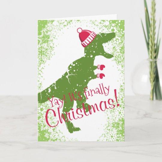 Dinosaur Christmas.Derpy T Rex Dinosaur Christmas Hat Mittens Holiday Card