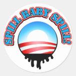 Derramamiento Obama del bebé del derramamiento Etiqueta Redonda