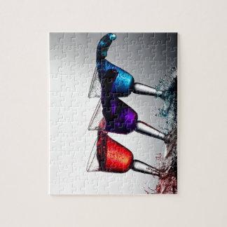 Derramamiento triple del cóctel puzzles con fotos