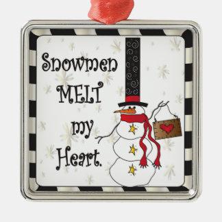 Derretimiento del muñeco de nieve su ornamento del adorno navideño cuadrado de metal