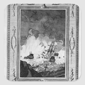 Derrota de la Armada Invencible Pegatina Cuadrada