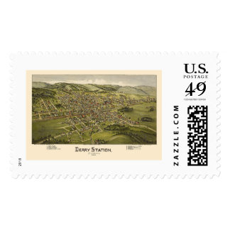 Derry Station, PA Panoramic Map - 1900 Stamp