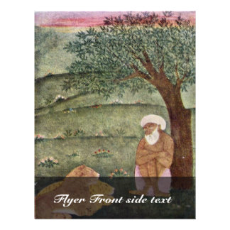 Derviche con un león y un tigre. Pintura de Mughal Flyer A Todo Color