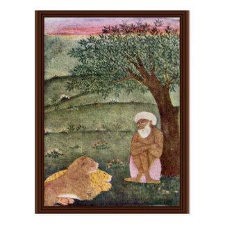 Derviche con un león y un tigre. Pintura de Mughal Tarjeta Postal