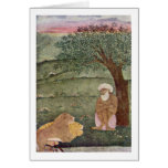 Dervish With A Lion And A Tiger By Indian Painter Card