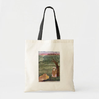 Dervish With A Lion And A Tiger. Mughal Painting. Budget Tote Bag