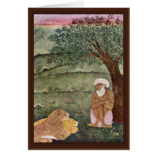 Dervish With A Lion And A Tiger. Mughal Painting. Cards