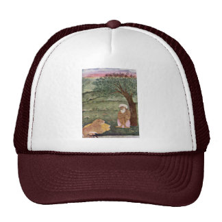 Dervish With A Lion And A Tiger. Mughal Painting. Trucker Hat