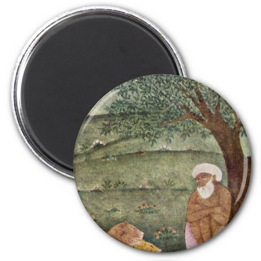 Dervish With A Lion And A Tiger. Mughal Painting. 2 Inch Round Magnet
