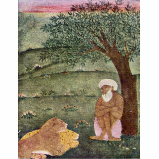 Dervish With A Lion And A Tiger. Mughal Painting. Photo Statuette