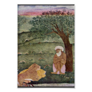 Dervish With A Lion And A Tiger. Mughal Painting. Poster