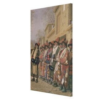 Dervishes' Chorus Begging Alms in Tashkent, 1870 Canvas Print