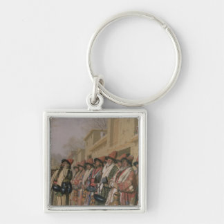 Dervishes' Chorus Begging Alms in Tashkent, 1870 Silver-Colored Square Keychain