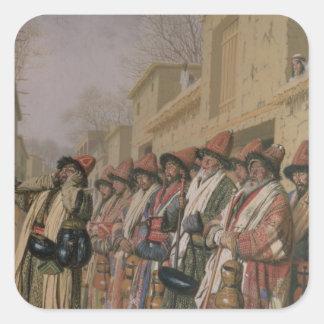Dervishes' Chorus Begging Alms in Tashkent, 1870 Square Sticker