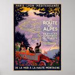 DES Alpes de la ruta del La. Poster del viaje del