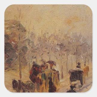 DES Batignolles del bulevar de Camille Pissarro Pegatina Cuadrada