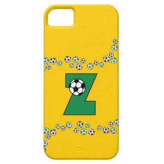 DES Buchstabe-Z im Fußball-Grün de Monogramm iPhone 5 Carcasas