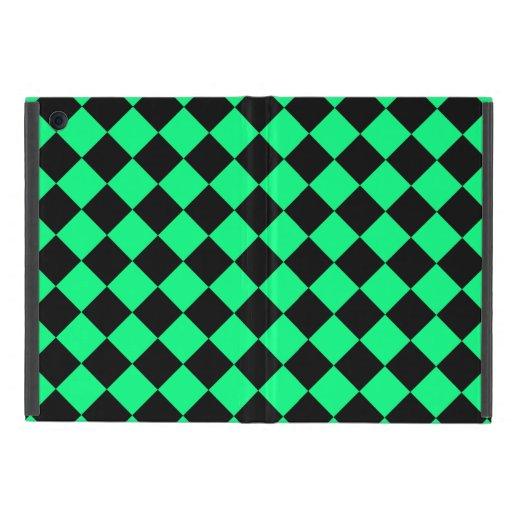 DES diagonal verde y negro de la primavera del tab iPad Mini Fundas