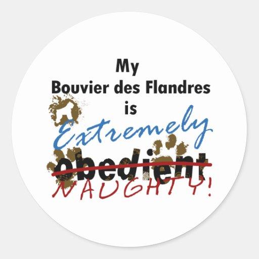 DES extremadamente travieso Flandres de Bouvier Etiqueta Redonda