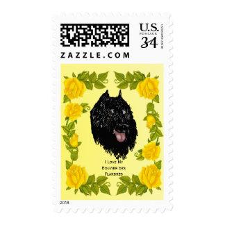 DES Flandres y rosas amarillos de Bouvier Sellos Postales
