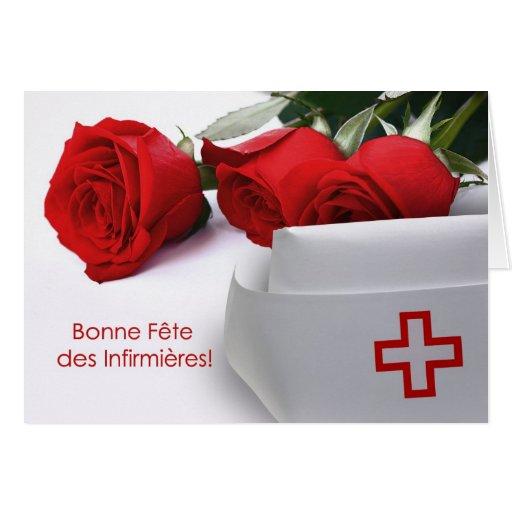 DES Infirmières.Customizable de Bonne Fête. En fra Tarjeta De Felicitación
