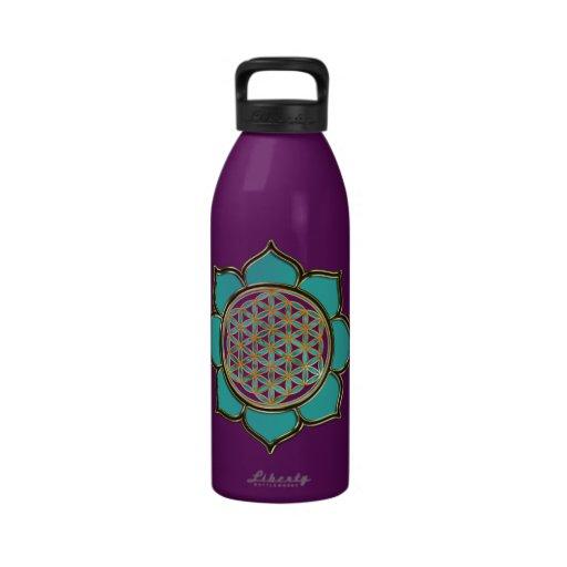 DES Lebens de Blume - türkis de LOTUS BLÜTE Botella De Agua Reutilizable