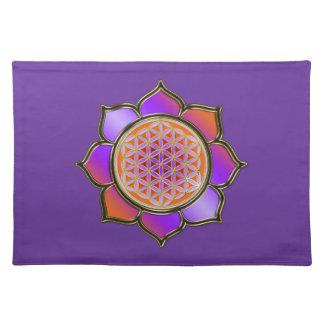 DES Lebens de Blume - violett del naranja de LOTUS Mantel Individual