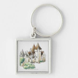 DES Milandes, Francia del castillo francés Llavero Cuadrado Plateado