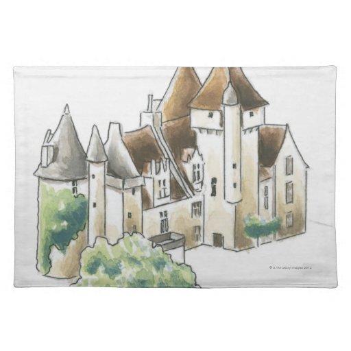 DES Milandes, Francia del castillo francés Manteles Individuales
