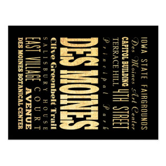 Des Miones City of Iowa Typography Art Postcard