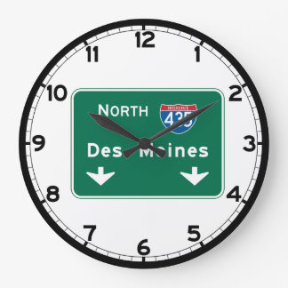 Des Moines, IA Road Sign Large Clock