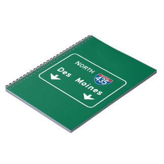 Des Moines, IA Road Sign Note Book